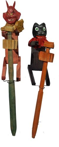 Great Vintage Halloween Noisemakers German. Wood & composition. 1920's.