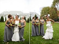 gray dresses with outdoor backdrop