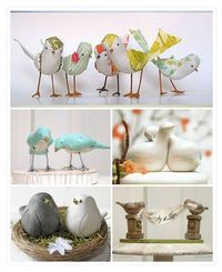 Bird cake toppers? Would be cute if they were sitting beside each other in a jeweled tree
