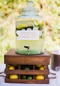 creative ideas for serving lemonade, sweet tea, and other big-batch drinks at your wedding