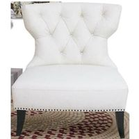 Diamond Sofa Zoey Tufted Leather Accent Chair With Nailhead Accents - White