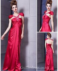 Red Satin Halter Long Prom Dress With Caps EM023