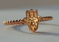 ROSE gold filled Hamsa, Hamsa Stackable Ring, Good luck ring, Judaica Jewelry