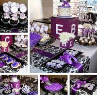 Purple Damask baby shower party