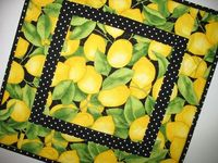 Lemon Table Topper Quilted fabric from by PicketFenceFabric, $24.95