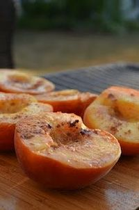 Amazing grilled peaches with rum butter sauce!