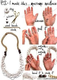 Finger knitting necklace. Excellent project for kids. Mother's Day craft idea!