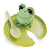 Froggy Sherbet. Preball the sherbet and assemble with candies then freeze. Just before serving, draw on the nose and mouth with green cake gel. Kids will love it!