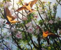 Swallows and Apple Blossom - oil painting by Julian Rowe