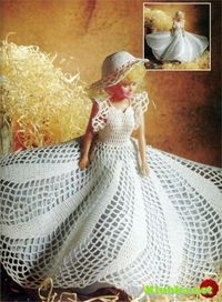 White dress Barbie with diagram