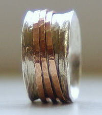 Unique Wedding Ring: Rustic Sterling Silver and 14k rose gold fill wide spinner ring
