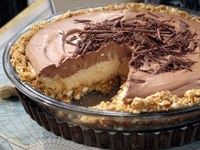 No-Bake Cream Cheese Peanut Butter Pie with Chocolate Whipped Cream from CookingChannelTV.com