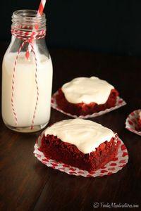 Red Velvet Brownies with Fluffy Cream Cheese Frosting   The Marvelous Misadventures of a Foodie