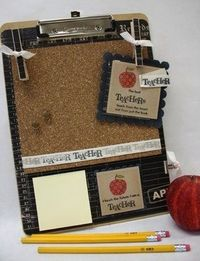 tutorial - clipboard covered with scrapbook paper and cork