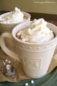 Pumpkin Spice Hot Chocolate Ingredients: 2 1/2 C milk 1/3 C hot cocoa mix 1/4 C canned pumpkin 1 t pumpkin pie spice 1/2 t vanilla pinch of salt homemade whipped cream Directions: 1. In a medium sauce pan over medium-low heat, whisk together milk, hot coc...