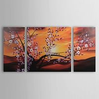 Branch with Beautiful Flowers Oil Painting - Set of 3 - Free Shipping