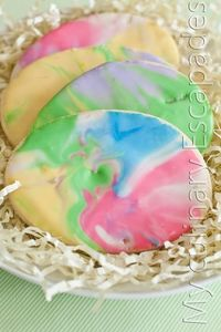 Tie Dye Easter Egg Sugar Cookies. Great fun with the kids.