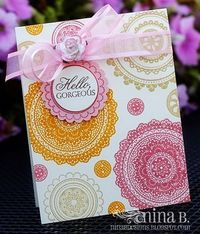 A lovely Croatian crafter..this card reminds me of Stampin'Up's doily stamp set and I like the colors she used.