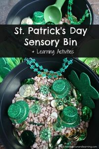 St. Patrick's Day Sensory Bin with Math and Literacy Learning Activities