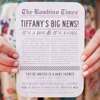 Newspaper baby announcement & shower invitation
