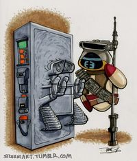 And now, WALL-E/Star Wars mash-up art.
