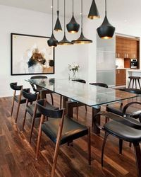Mid century modern look to a traditional dining room concept