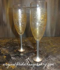 Painted Champagne Flutes New Years Eve by OriginalBridalHanger, $25.00