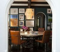 navy blue walls paint color, arched doorway. eclectic photo ...