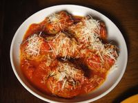 The recipe for Frankies Spuntino's meatballs. I made these tonight. They are good. Made tiny versions for pizza, too.