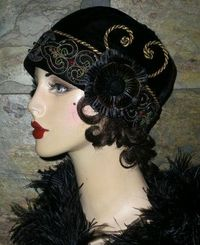 OOAK Vtg 1920's Black Velvet Flapper Girl Cloche Hat Beaded Embroidered Floral | eBay