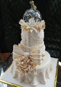 Ivory Lace Tiered Fondant Wedding or Anniversary Cake