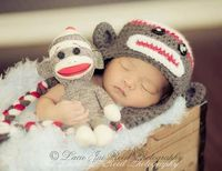 Crochet Sock Monkey Hat and Doll Set Crochet Sock by JemsBoutique, $31.99