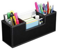 Hipce SDOT-01 2-in-1 Faux Leather Desk Organizer and Pen Holder