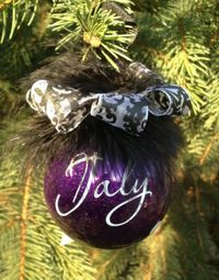 purple glitter ball ornament personalized with by allstickeredup, $12.00
