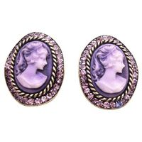 Earrings features a delicate carved portrait of a lady Vintage Beautiful new inspired Cameo jewelry versatile stunning Cameo earrings in Oval Shaped with Lady Cameo carved with artistic work around the frame with Amethyst Crystals embedded all over that e...