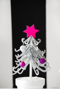 Little Silver Tree-- There is a very easy way to make your own little Christmas tree out of pipe cleaners! And the best thing: All items used are from the Dollar Store!