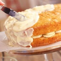 Recipe for Banana Layer Cake with Lemon Cream Cheese Frosting - Another poster said: This is one of (if not) the BEST banana cake I have ever tasted!