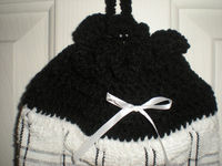 Plastic Bag Holder - Black and White - Crochet