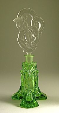 Vintage 1930s Art Deco Czech Perfume Bottle.