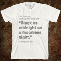 Twin Peaks quote t-shirt - 'Black as Midnight on a Moonless Night'