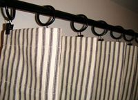 """96""""x50"""" Black and Natural French Ticking Custom Draperies Curtain"""