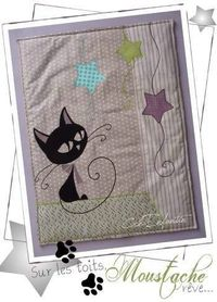 Moustache Kitty - Baby Quilt