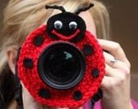 Camera lens buddy. Crochet lens critter ladybug. Smart for photographing kids