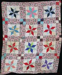 A colorful Lemoyne Star quilt by the late Armena (Cain) Miner Marshall of Washington, PA, posted at the Minerd geneaology website
