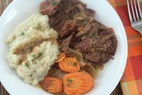 Living Low Carb...One Day at a Time: Low Carb Pot Roast with Roasted Garlic Mashed Cauliflower (Gluten Free and Dairy Free)