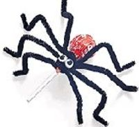 Candy Pop Spiders Ingredients Tootsie roll pops work best 4 pipe cleaners per spider Wiggly eyes  Take a tootsie pop and wrap 4 pipe cleaners around the bottom of the paper. Bend the pipe cleaners to look like the spiders legs. Now glue either paper eyes...