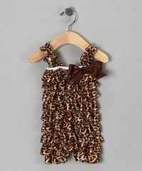 Take a look at this Brown Cheetah Ruffle Romper - Infant by Royal Gem Clothing on #zulily today!