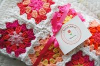RESERVED - Custom Order - Bright Pink and Orange Patchwork Baby Granny Square Afghan Blanket Baby Shower Gift