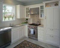 I will be placing my dishwasher to the left of sink. Wonder if the large cabinet is a pantry or fridge??