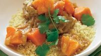 Moroccan Sweet Potato & Chicken Stew over couscous